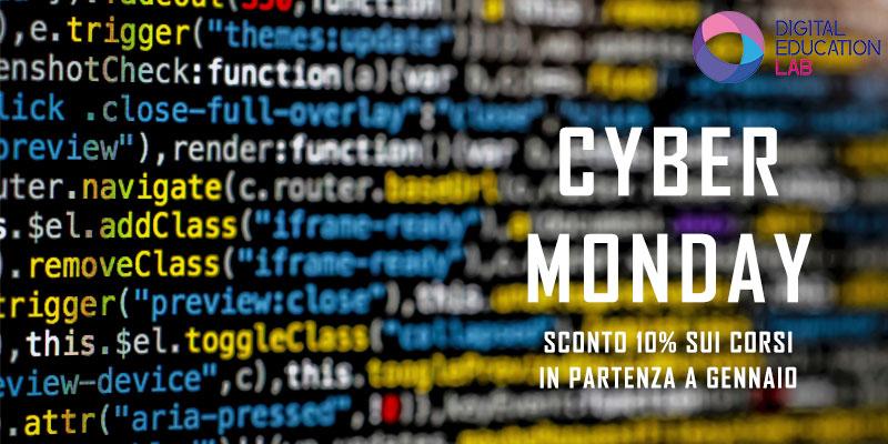 Promozione Cyber Monday: sconto del 10% sui corsi in partenza a Gennaio